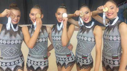 Архивна снимка на българските гимнастички, които завоюваха комплект медали на Световната купа в Баку