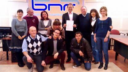 Jérôme Godefroy (3 ème de droite) avec les participants dans la Master class à la RNB