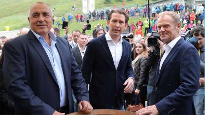 Бойко Борисов, Себастьян Курц и Дональд Туск в Шладминге