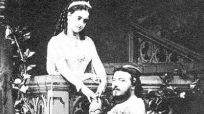 """Аделина Пати и Джовани Матео Ди Кандия (известен като Марио) в сцена от второ действие на операта """"Ромео и Жулиета"""", Лондон, 1867 г."""