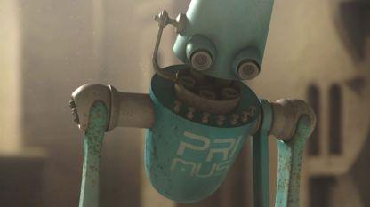 Един от роботите наблюдатели в българския пърнометражен анимационен филм