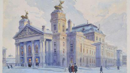 Народният театър, 1913 от Йосиф Питер - първия школуван график у нас
