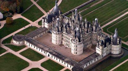 Изглед от въздуха на красивия замък Шамбор, Франция.