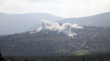 Дим над Африн в началото на март в резултат на турската операция