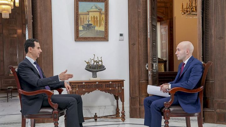 """Сирийският президент Башар Асад по време на интервюто за """"Раша тудей"""""""