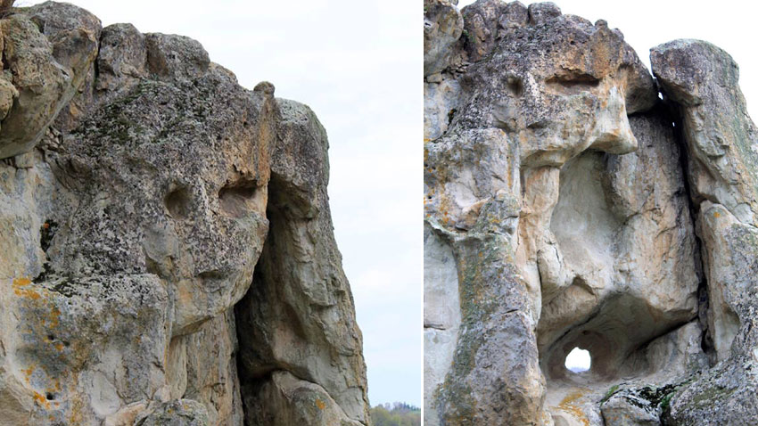 The rock chamber below the face of the girl has an entrance from the back