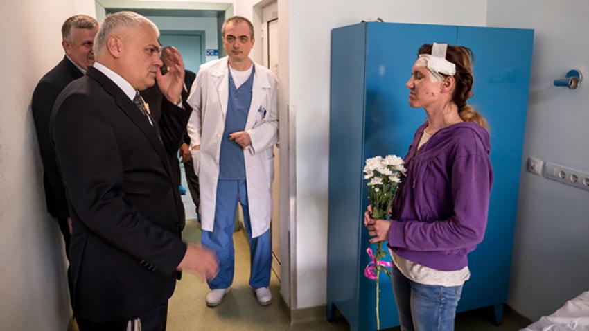 Вътрешният министър Валентин Радев, главният секретар на МВР гл. комисар Младен Маринов и заместник-директорът на Дирекция
