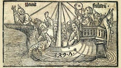 """""""Корабът на глупците"""", гравюра на Албрехт Дюрер на заглавната страница на поемата на Брант"""