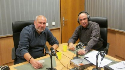 Професор Николай Овчаров и Симеон Идакиев в студиото на