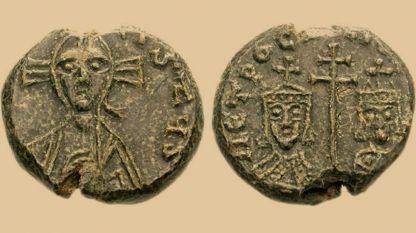 Печат на българския монарх Петър - изображение на Иисус Христос, владетеля и неговата съпруга - Мария Лакапина.