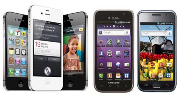 смартфони на Apple (iPhone) и на Samsung (Galaxy)
