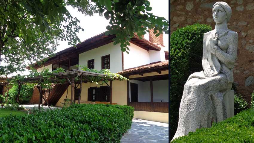 Домът на Райна Княгиня (л), в двора на който е издигнат неин паметник (д)
