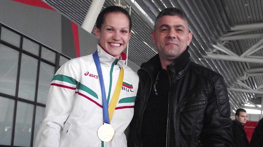 Arriving at Sofia Airport with personal coach Alexander Hristov - European and World Champion and Olympic Vice-champion.