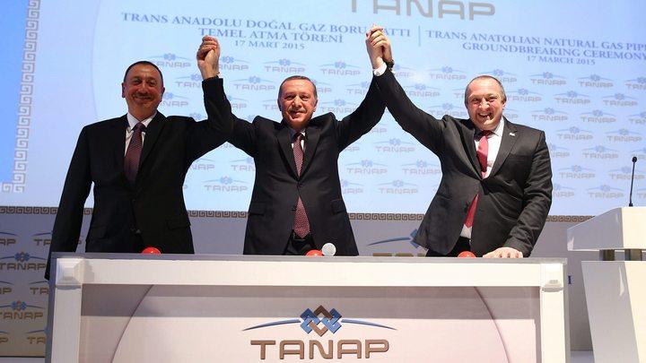 Президентите на Азербайджан, Турция и Грузия дават старт на проекта ТАНАП през март 2015 година.