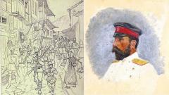 Изпращане на доброволците от Търново,1885 г. (вляво) и портрет на княз Александър Батенберг, 1886 г. – (фрагмент от картините на художника Антони Пиотровски)