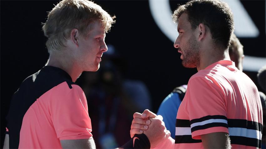 Kajl Edmënd (majtas) dhe Grigor Dimitrov pas ndeshjes në Australian Open