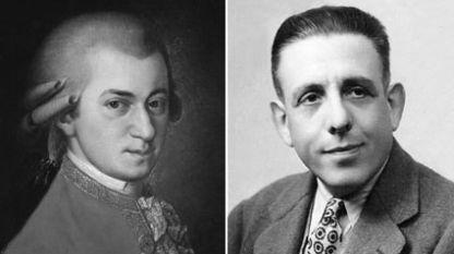 Моцарт (вляво) и Пуленк