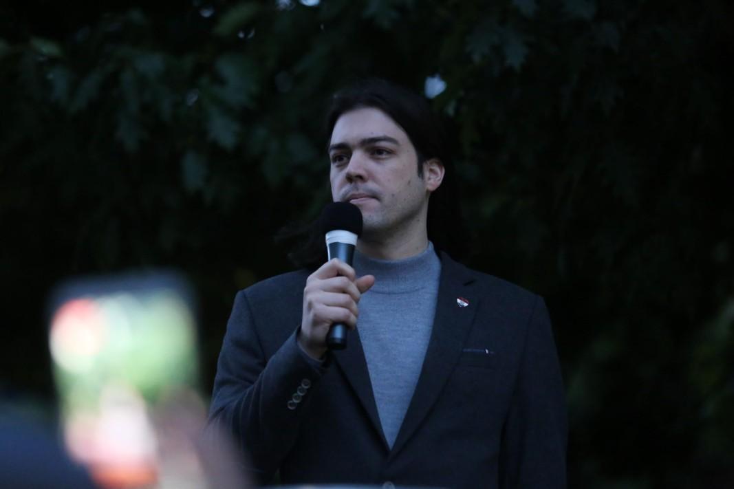 Иван Синчич, евродепутат от Хърватия, на протеста в София