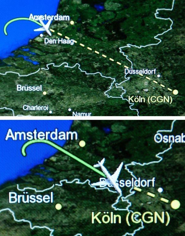 Самолетът на Меркел направи обратен завой над територията на Холандия и кацна в Кьолн.