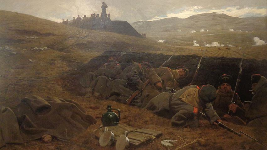 Αντόνι Πιότροφσκι (Πολωνία), «Στα χαρακώματα» (σκηνή του Σερβοβουλγαρικού Πολέμου του 1885), 1887