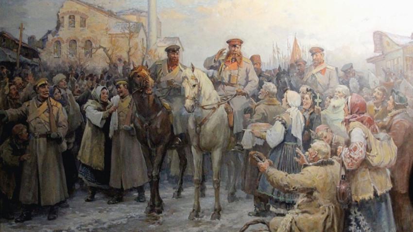Pritja e Gjeneralit Gurko në Sofje më 4 janar 1878. Piktor Dimitër Gyxhenov