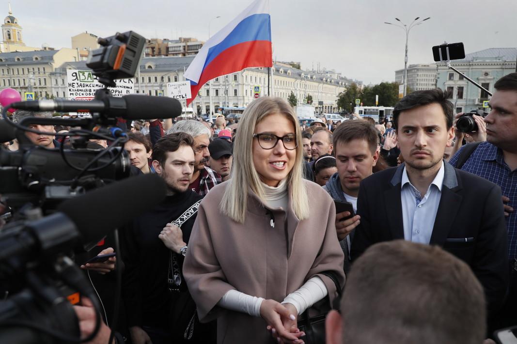 Опозиционната активистка Любов Собол на протест на Москва.
