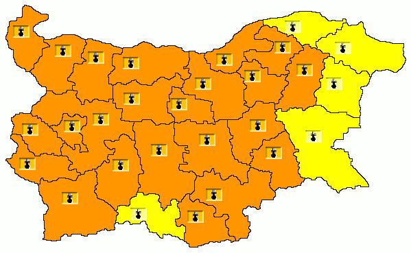 Карта на опасните явления за 30.07.2021/НИМХ