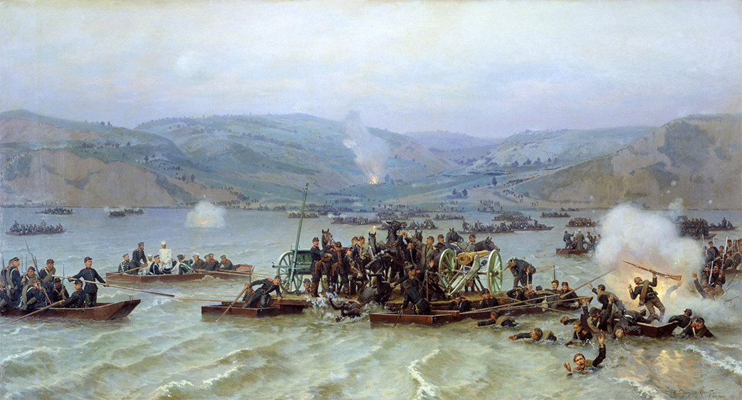 The Russian troops crossing the Danube at Zimnitsa, 15 June 1877, painted by Nikolai-Dmitriev-Orenburgsky
