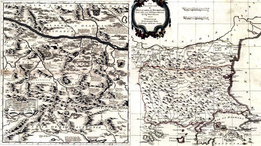 Mapa del Danubio de Viena a Nikopol por Vincenzo Maria Coronelli, 1692; y mapa de las provincias de Bulgaria y Rumelia por Giovanni Rizzi Zannoni, 1781