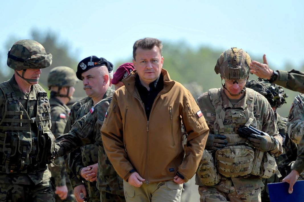 Полският министър на отбраната Мариуш Блашчак по време на откриването на полско-американското военно учение Defender-Europe 20 Plus, което се провежда от 05 до 19 юни.