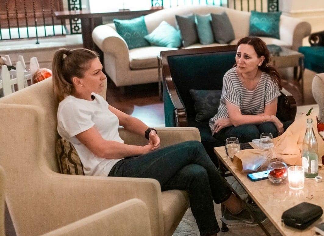 По време на интервю със Симона Халеп в Дубай.