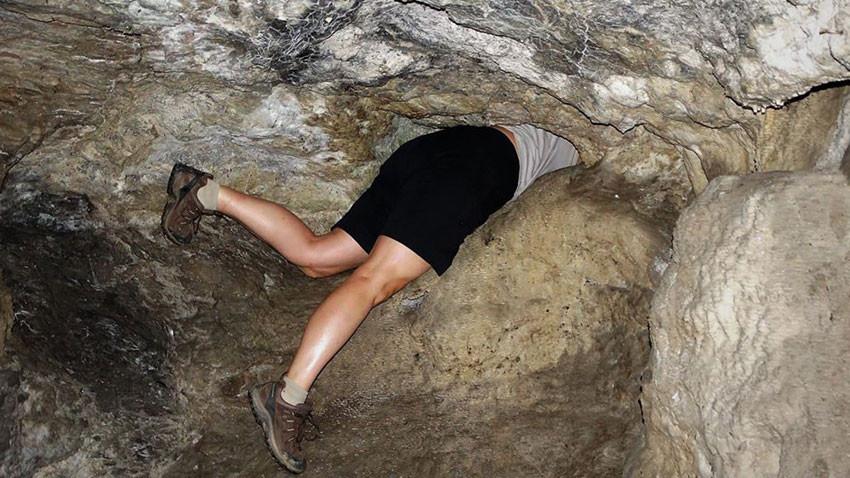 crawl-hole in the Slivarovo Cave sanctuary Saint Marina