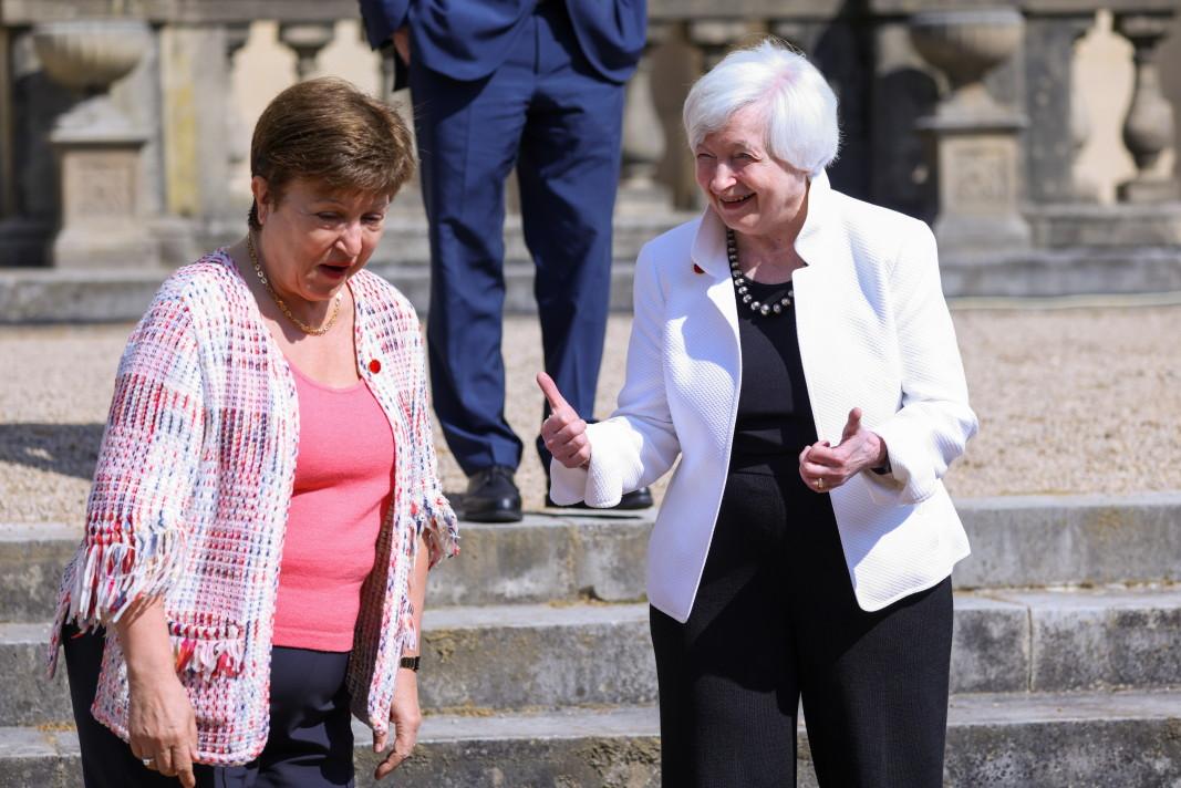 Управляващият директор на МВФ Кристалина Георгиева с финансовия министър на САЩ Джанет Йелън в Лондон, 5 юни 2021 г./ЕПА/БГНЕС