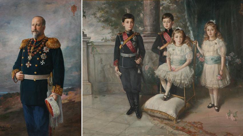 Νικόλα Μιχάηλοφ (1878 – 1960), πορτρέτο του βασιλιά Φερδινάνδου, 1914 και τα παιδιά του βασιλιά Φερδινάνδου Μπορίς, Κίριλ, Εβντόκια και Ναντέζντα