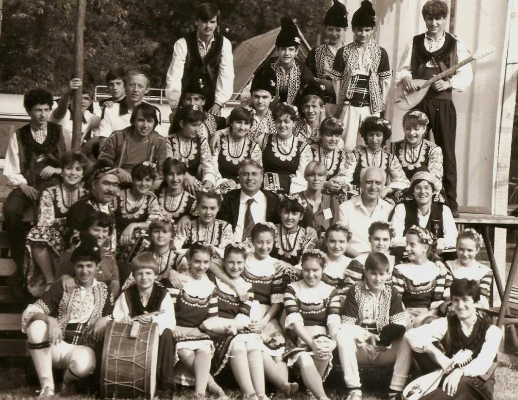 """Ансамбъл """"Изворче"""" на фестивал в Закопане, Полша, 1984 г. Снимка: Архив на Никола Колев"""