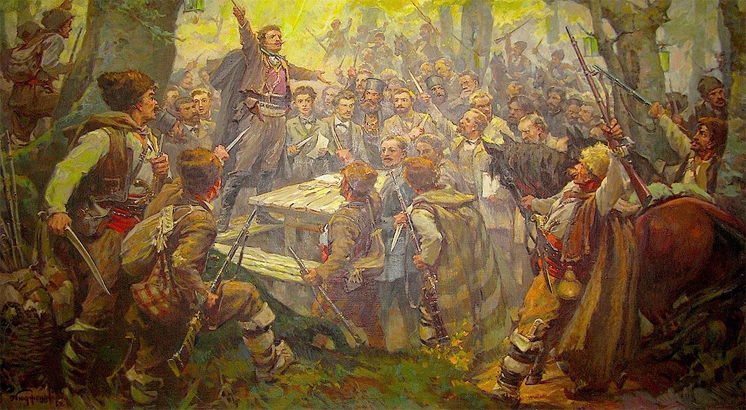 The meeting of the 4th Revolutionary Region in Oborishte, painted by Dimitar Gyudzhenov