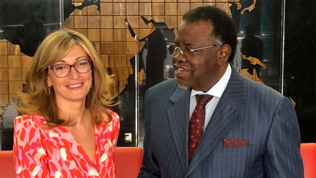 Министар спољних послова Екатерина Захаријева са председником Републике Намибије Хагеом Готфридом Гејнгобом - новембар 2019.