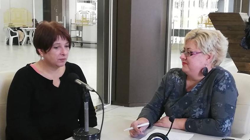 Забине Бокмюл в изнесеното студио на Радио София