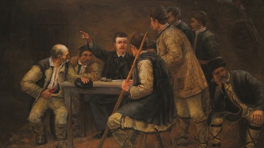 Krijimi i komitetit të fshehtë revolucionar në rajonin e qytetit Sofje, piktor Marin Ustagenov. Galeria Kombëtare e Arteve Figurative