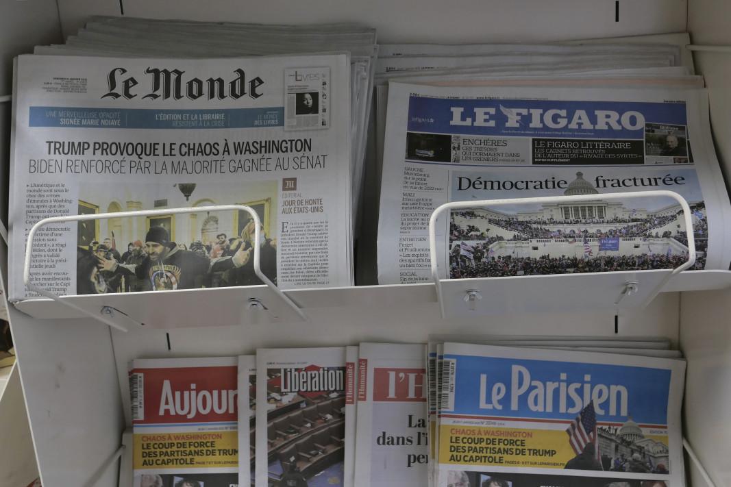 Темата с щурма на Капитолия е на първите страници на френските вестници