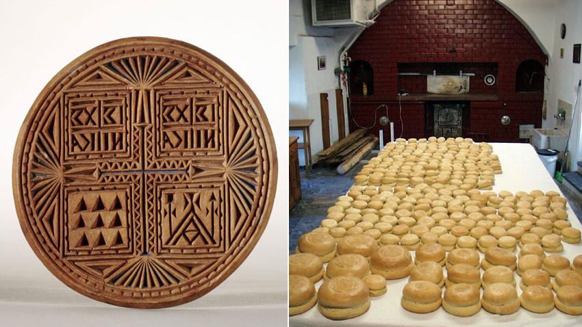Το ψωμί που χρησιμοποιείται στη λειτουργία επίσης λέγεται πρόσφορο και ζυμώνεται με μαγιά