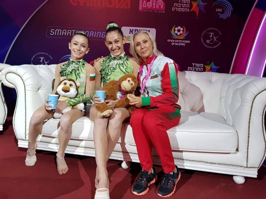 Теодора Кръстева,Елена Босилкова с треньор Гергана Денева