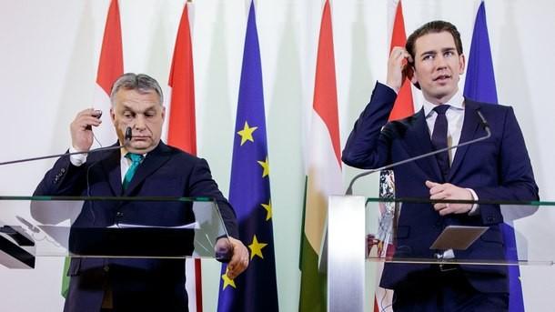 Премиерите на Унгария и Австрия - Виктор Обран (ляво) и Себастиан Курц