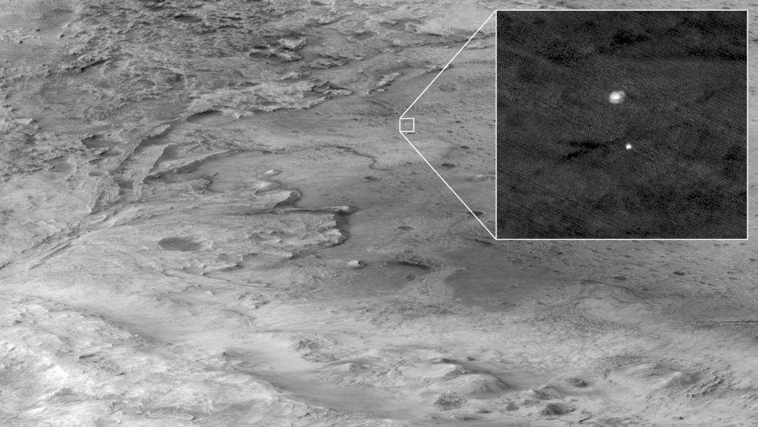 Американски апарат в орбита на Марс успя да заснеме кацането на Пърсивиърънс. Снимка: NASA/JPL-CALTECH/UNIVERSITY OF ARIZONA