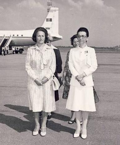 Елена Чаушеску (вляво) с Людмила Живкова през 1977 г.