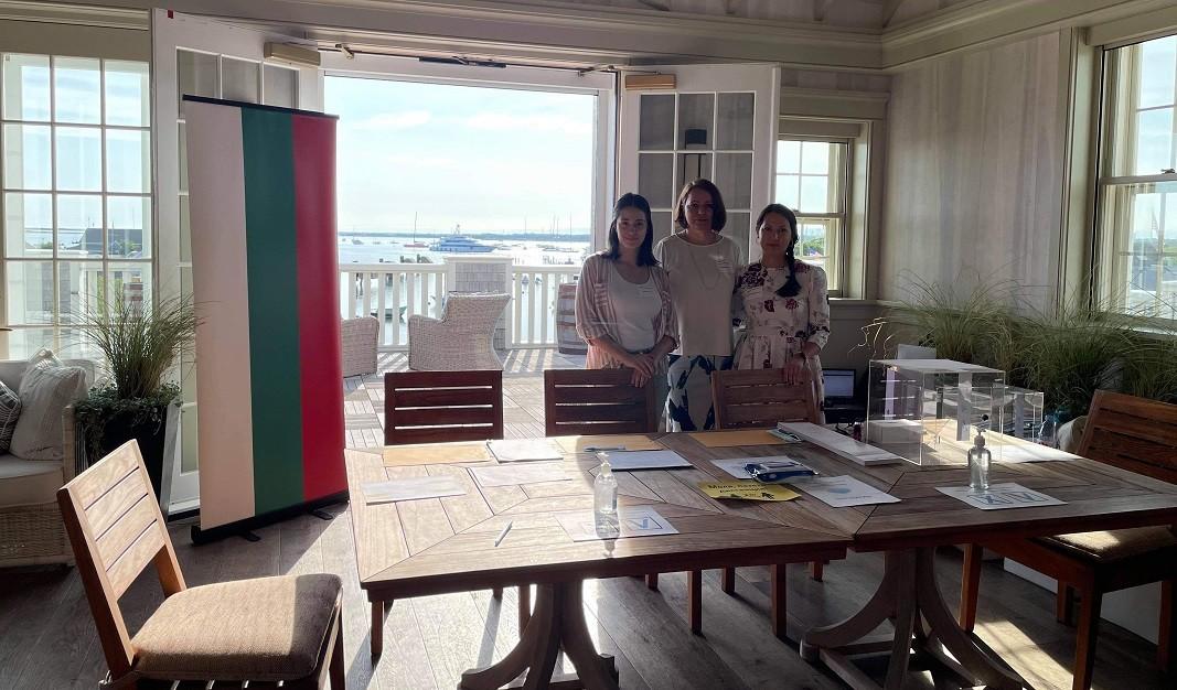 The polling station commission at Nantucket Island chaired by Maria Chakarova, Mira Radoslavova, Kristina Georgieva