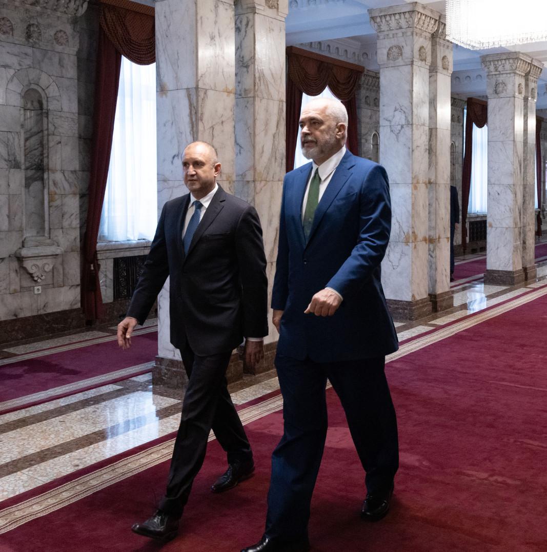Румен Радев и Еди Рама, снимка: Пресцентър на президентството