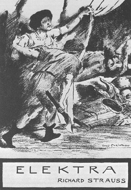 """Заглавнаta странца на """"Електра"""" от Ричард Щраус, рисунка от Ловис Коринт, 1909 г."""