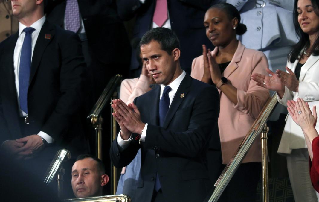 Хуан Гуайдо присъства на речта на Тръмп.        Снимка: ЕПА/БГНЕС