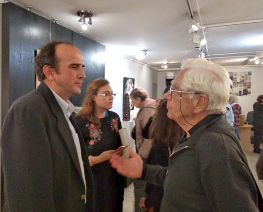 Iwan Kantschew (links) während der Eröffnung der Ausstellung / Foto: Albena Besowska